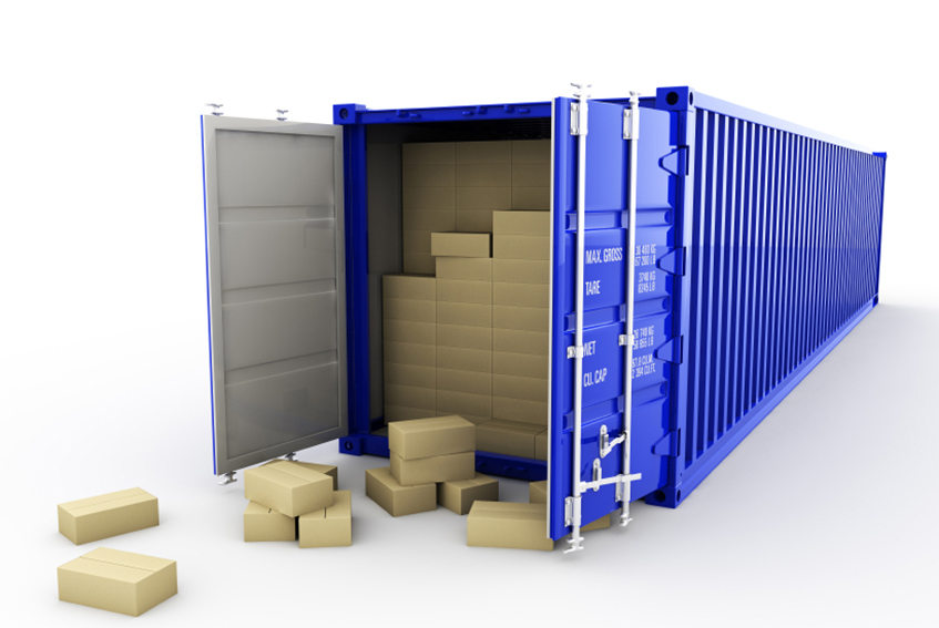 Open 40' shipping container and cardboard boxes. 3d render.